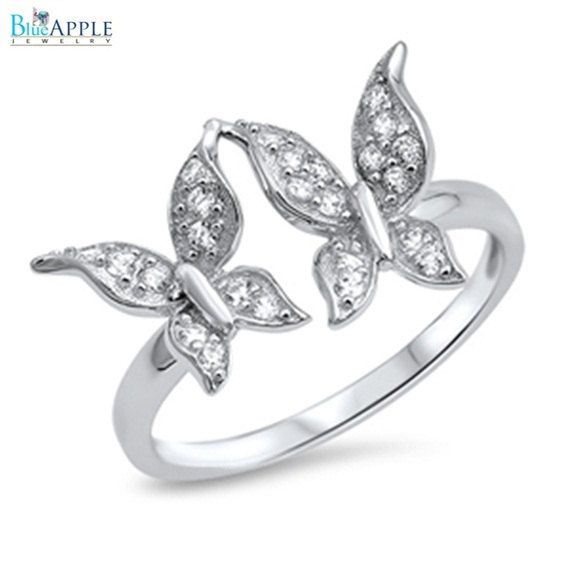 Mariage - Butterflies Ring Solid 925 Sterling Silver with Pave Russian Diamond CZ Clear Crystal Rhinestone Cute Butterfly Ring Friendship Ring