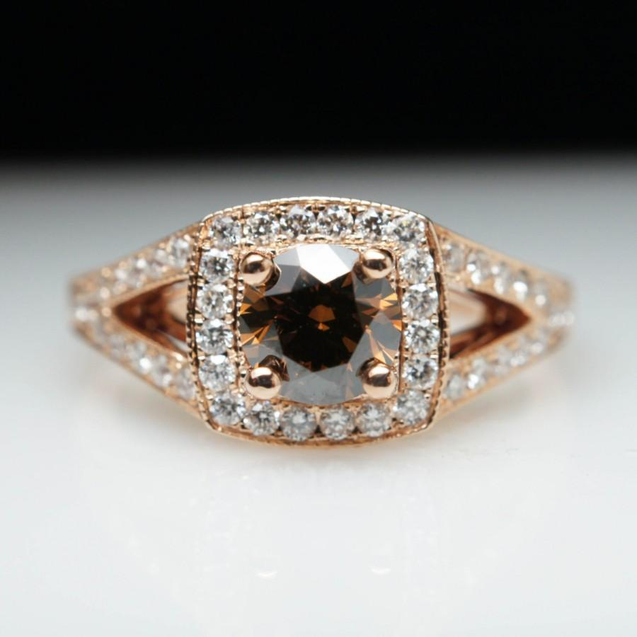 Mariage - Beautiful .96ctw Fancy Brown Champagne Diamond Rose Gold Engagement Ring - Size 6 - Free Sizing - Layaway Available