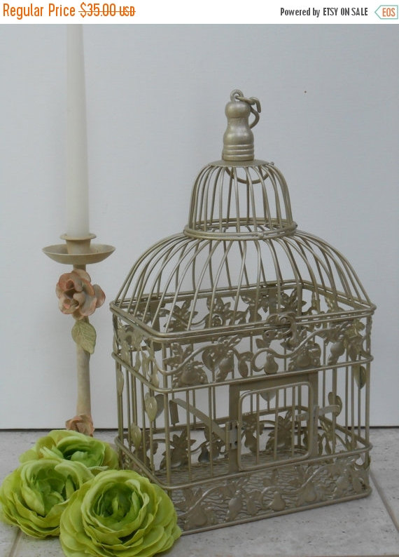 Свадьба - ON SALE Small Gold Wedding Birdcage Card Holder / Wedding Card Box / DIY Wedding / Wedding Supplies