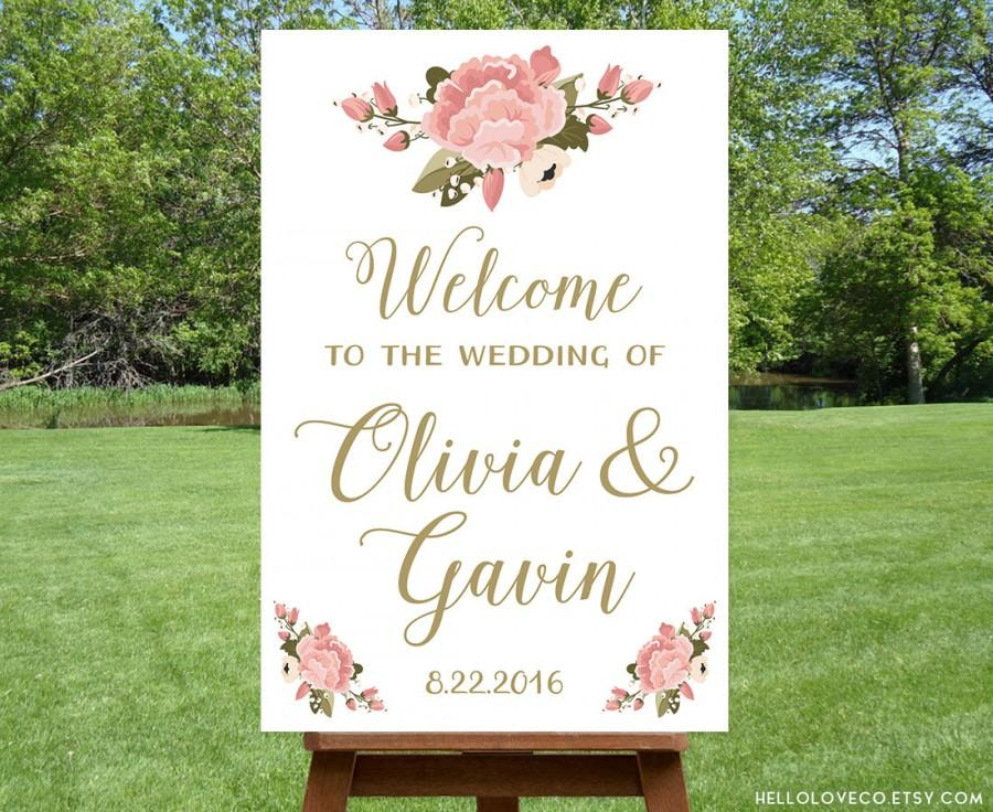 PRINTABLE Large Wedding Welcome Sign Personalized Wedding Sign Reception Entrance Sign Floral