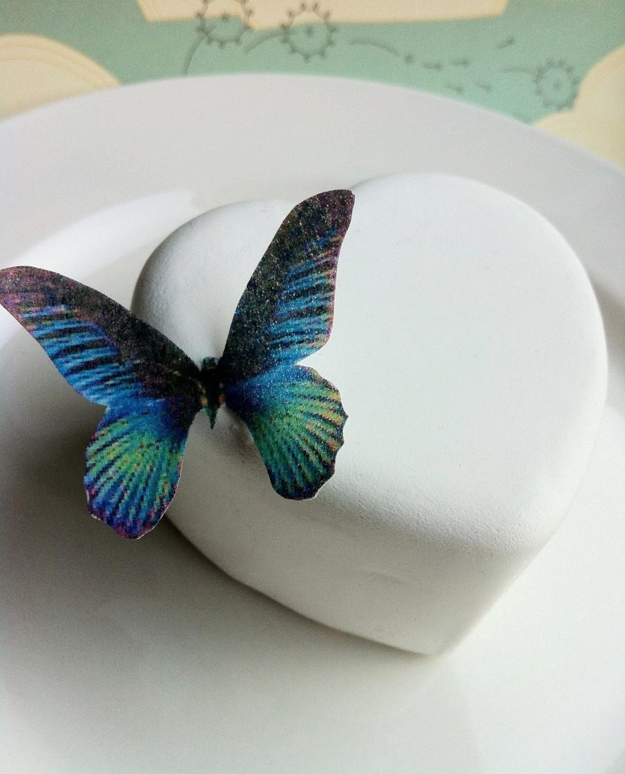 Свадьба - Wedding Cake Topper Edible Butterflies for Wedding Cupcakes - Edible Butterfly Wedding Cake Decoration  - Small Blue Green