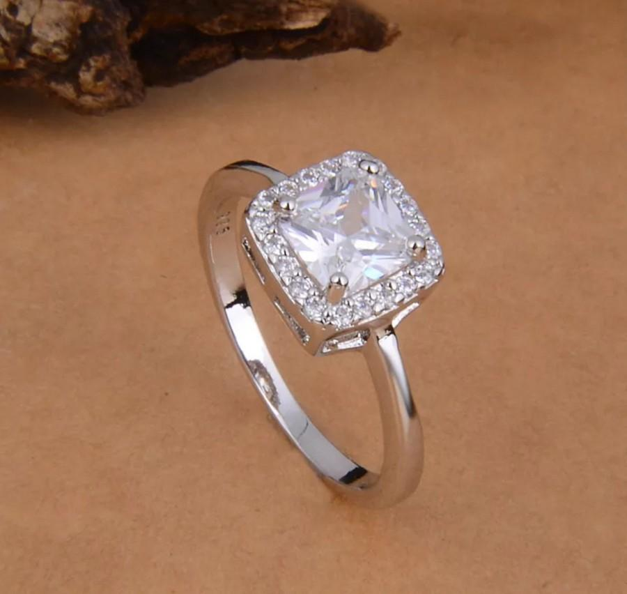 Sterling Silver Cubic Zirconia Engagement Band Ring Size 8 925