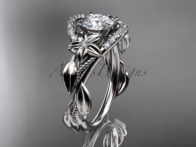 Wedding - Platinum gold diamond unique engagement ring,wedding ring ADLR326