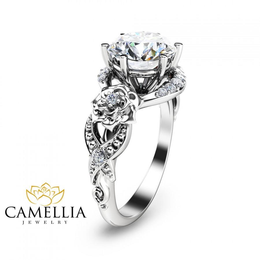 Mariage - Unique Engagement Ring 14K White Gold 2ct. Diamond Ring Art Deco Engagement Ring Unique Diamond Ring