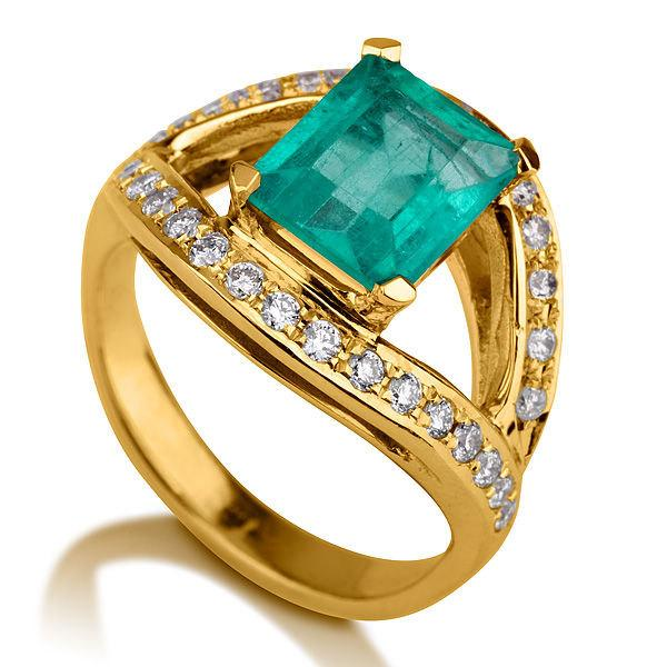 Emerald Engagement Ring, 14K Gold Ring, 1.5 TCW Natural
