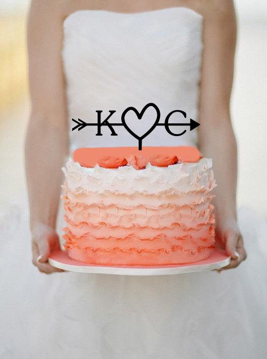 Свадьба - Initials Heart and Arrow Cake topper