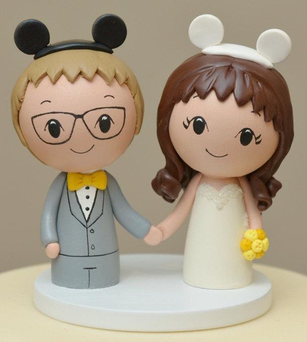 Свадьба - Topper for February -Disney (inspired) Cake Topper  -- Kokeshi Wedding Cake Topper - Wood Cake Topper