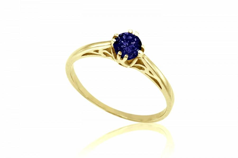Wedding - 14K Sapphire Solitaire Engagement Ring, Art Nouveau Sapphire Ring, Sapphire Wedding Ring