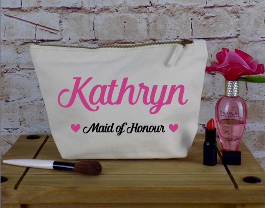 Wedding - Personalised Make Up Bag Or Wash Bag - Designs For Bride Bridesmaids, Maid of Honour & More Any Colour Theme - Unique Gift for Bridal Party
