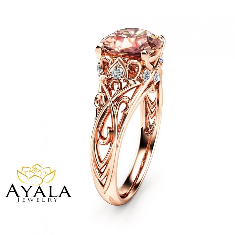 Peach Pink Morganite Engagement Ring 14K Rose Gold Cushion Ring Unique Cushio