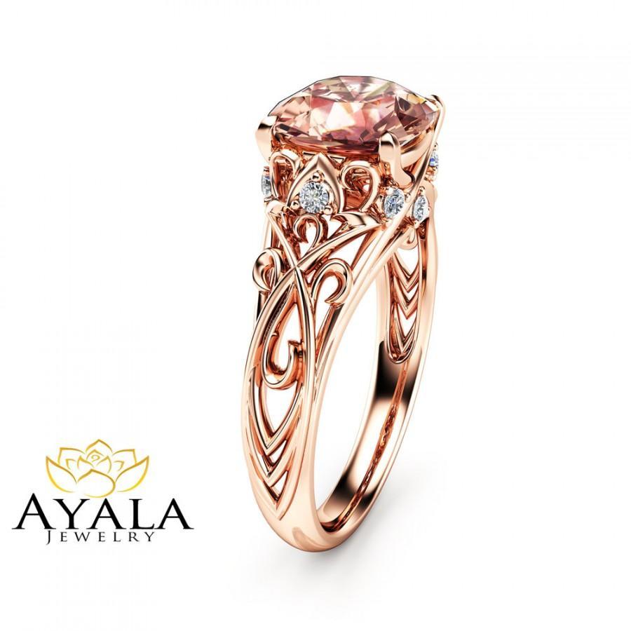 pink morganite engagement ring 14k gold cushion
