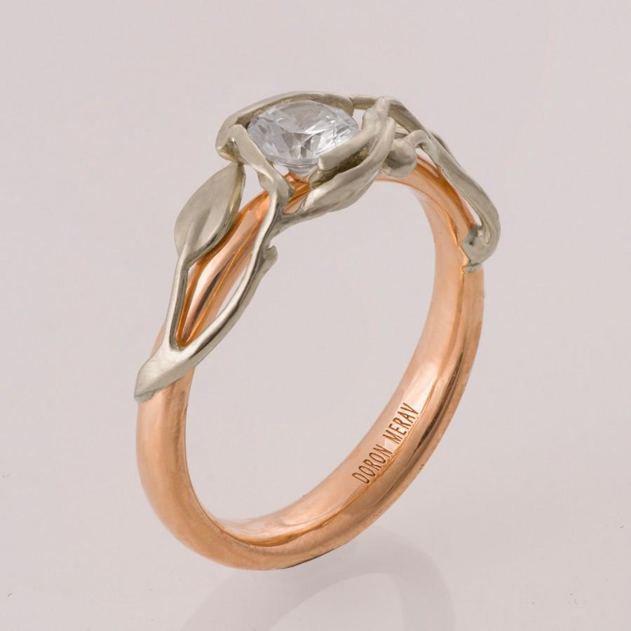 Two Tone Leaves Engagement Ring Rose Gold Engagement Ring Unique Engagement
