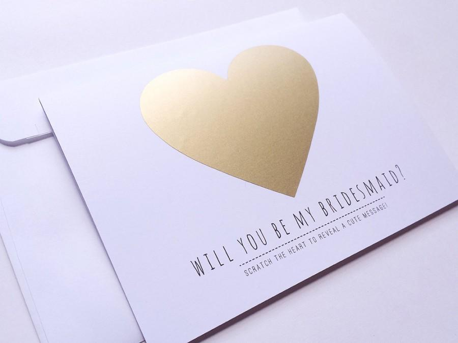 Mariage - Personalised - Custom - Will You Be My Bridesmaid - Maid of Honor Card - Invitation - Wedding - Gold Heart - Scratch It