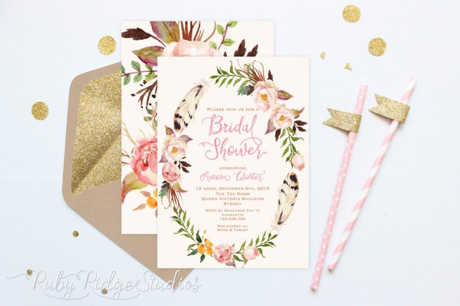 Wedding - Printable Bridal Shower Invitation, Bohemian Blush Watercolor Floral, Peonies, Pink Gold, Hens Party, Kitchen Tea, DIY Printable Invitations