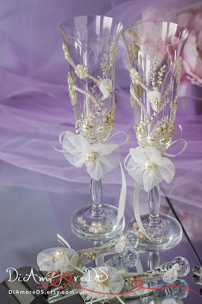Rhinestone Wedding Set Cake Server And Knife Champagne Flutes
