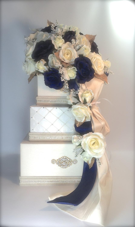 Wedding Card Box Navy & Gold Cream Wedding Card Box Wedding Card ...