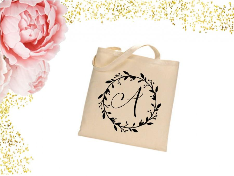 زفاف - Monogram/ initial Tote Bag. bridal shower gift. wedding tote. bridesmaid tote