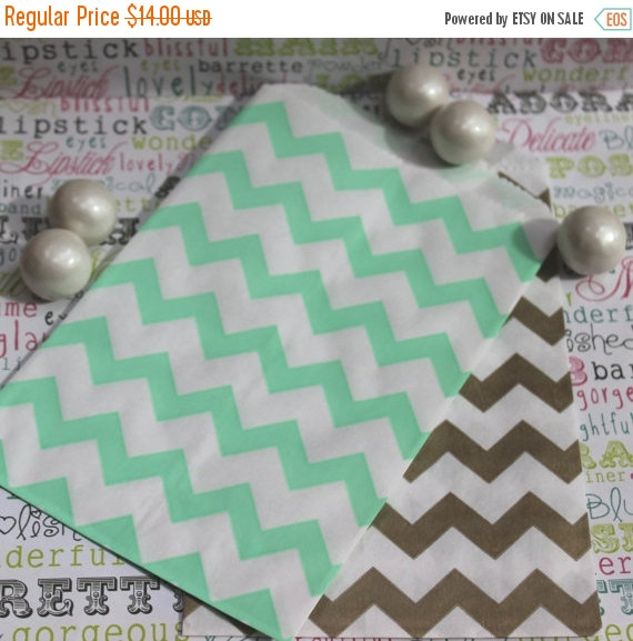 Wedding - XOXO SALE 100 Gold and Mint Chevron Candy Bags, Wedding Candy Bags, Popcorn Bags, Mint and Gold Favor Bags