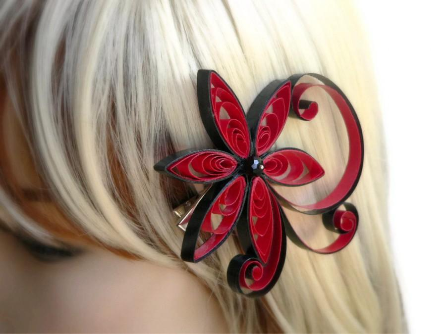 Red Hair Accessory, Punch Wedding Hair Clip,