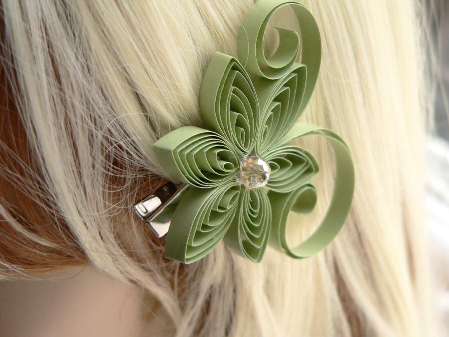 Wedding - Meadow Wedding, Sage Green Wedding Hair Clip, Sage Wedding Hair Accessory, Moss Wedding