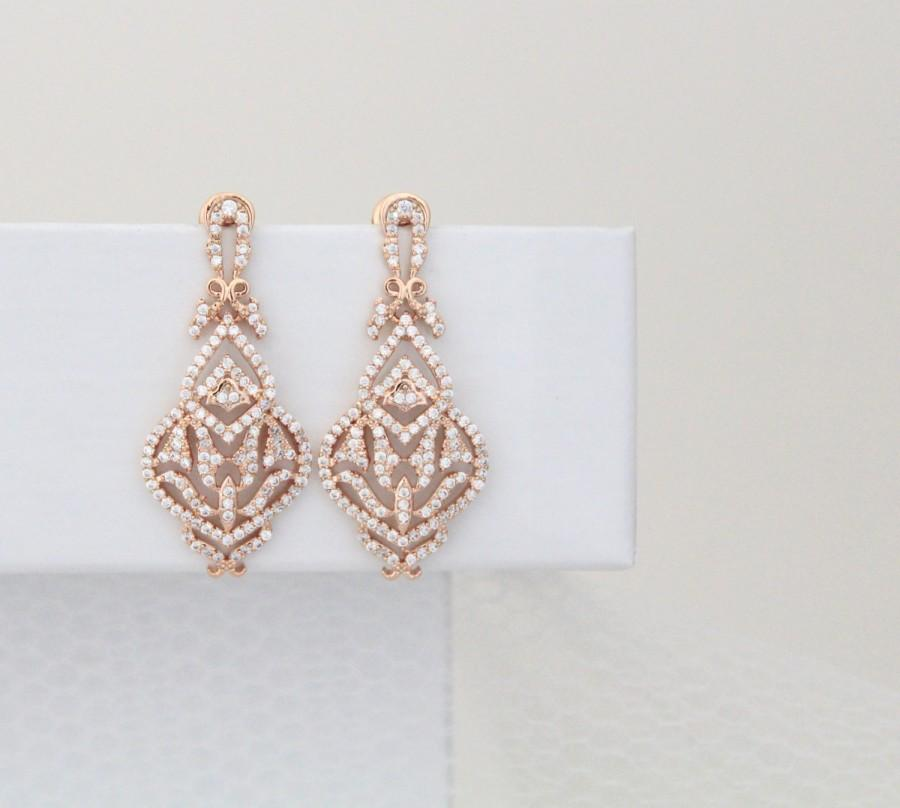 Rose Gold Bridal Earrings, Simple Rose Gold Earrings, Crystal