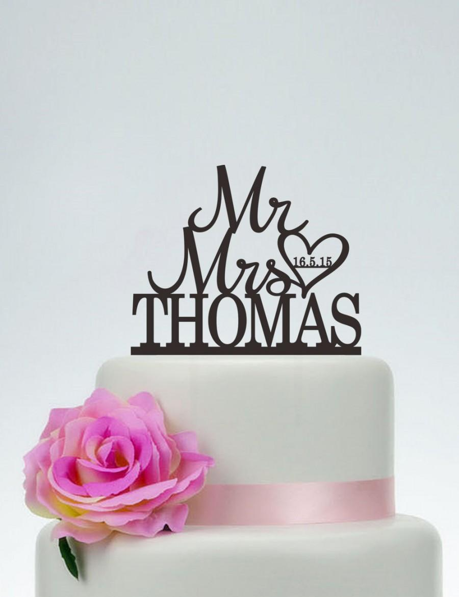 Mariage - Mr And Mrs Cake Topper With Last Name,Wedding Cake Topper,Custom Cake Topper,Engagement Topper,Heart Cake Topper C105