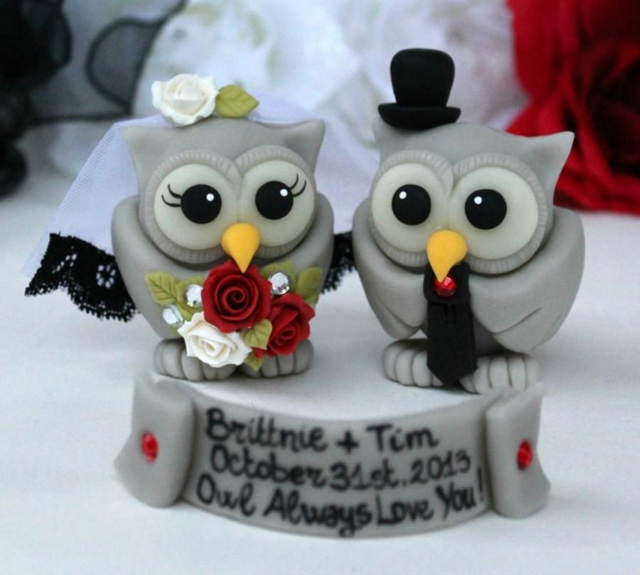Halloween Wedding Cake Topper   Grey Owls Love Birds Bride And Groom    Gothic Wedding