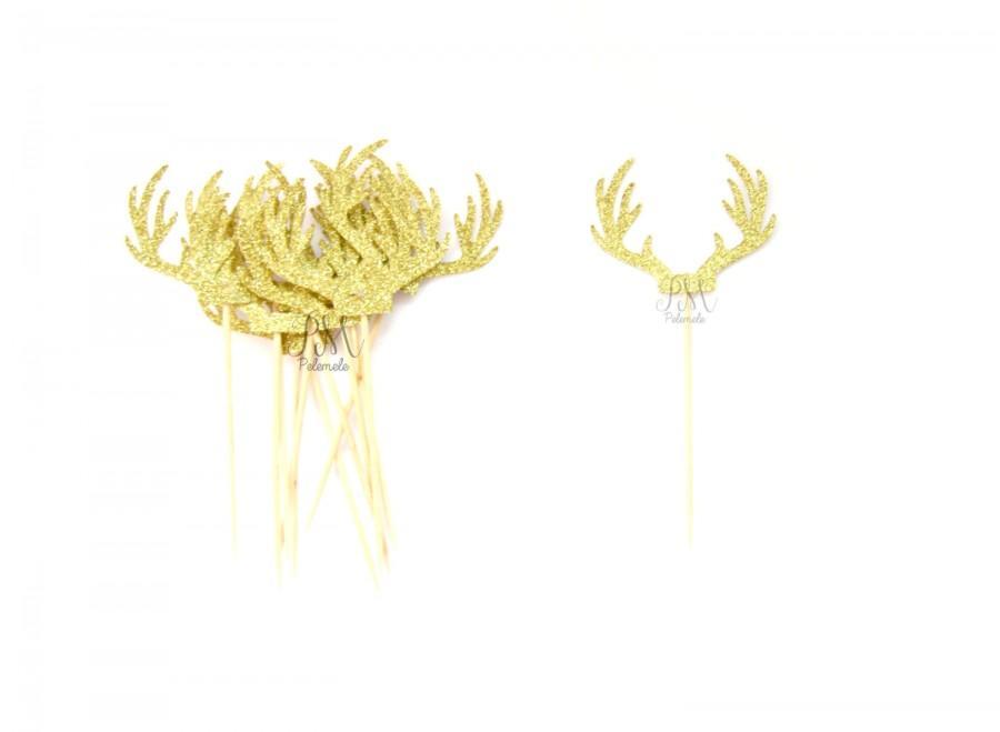 Mariage - 12 Gold Glitter Deer Antler Cupcake Toppers  -  Birthday Cupcake Topper, gold birthday cake topper, wedding cupcake topper