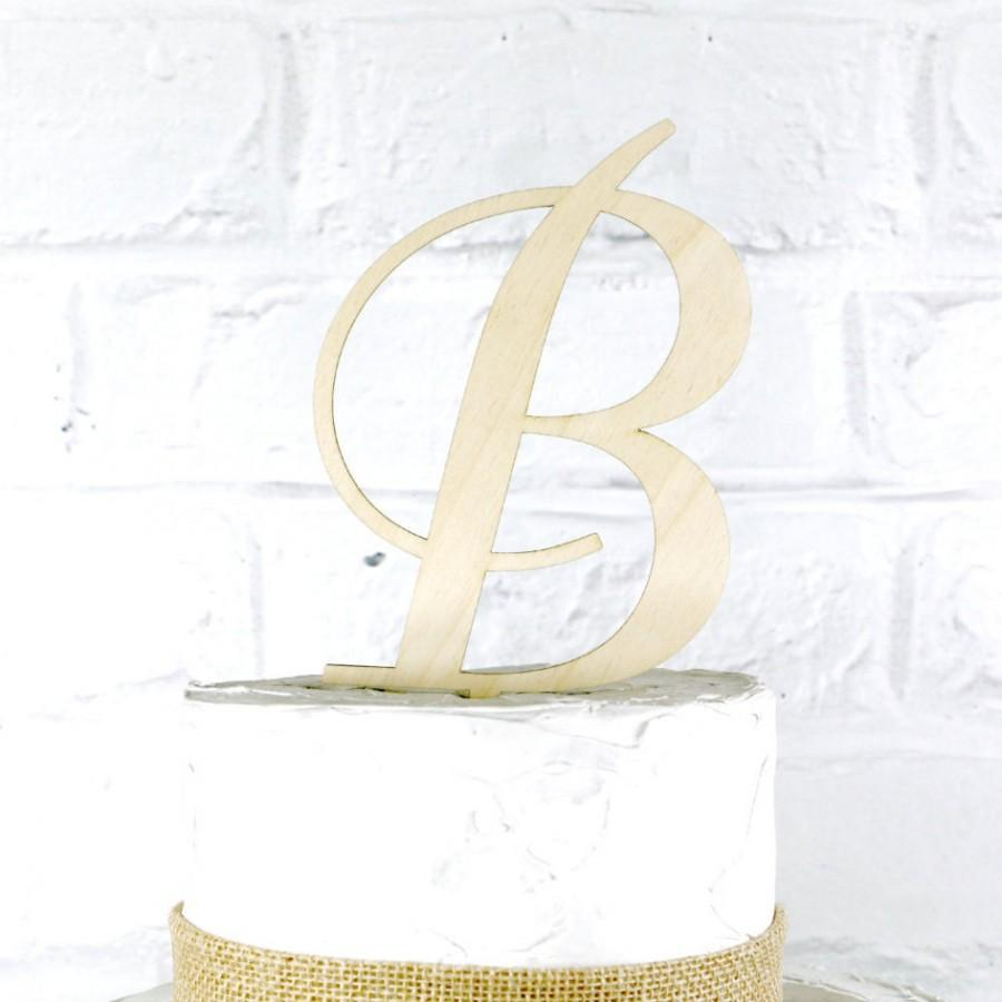 Hochzeit - Removable Stakes 6 Inch Rustic Wedding Cake Topper Monogram Personalized in Any Letter A B C D E F G H I J K L M N O P Q R S T U V W X Y Z