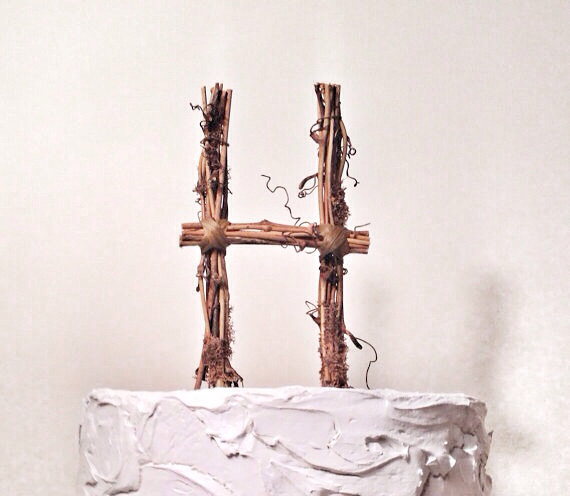Letter H Rustic Twig Wedding Cake Topper