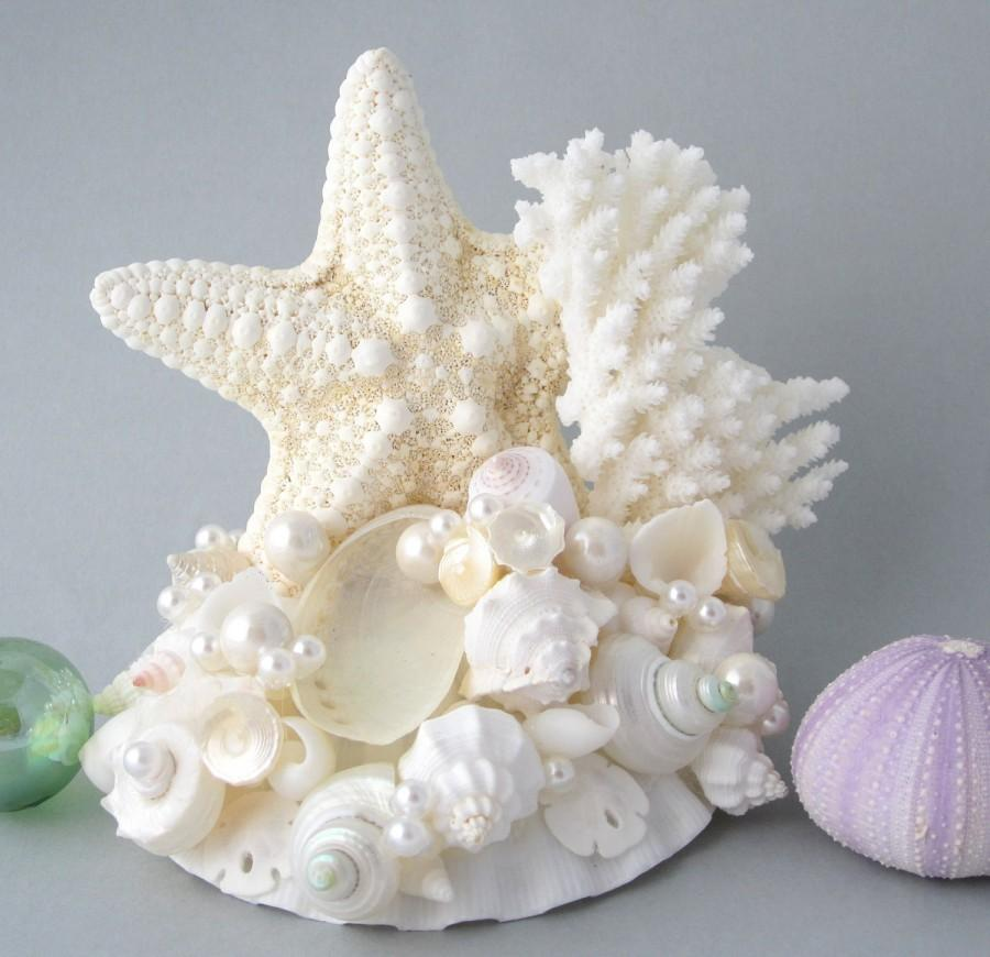 beach wedding starfish shell cake topper nautical seashell starfish wedding cake topper w. Black Bedroom Furniture Sets. Home Design Ideas