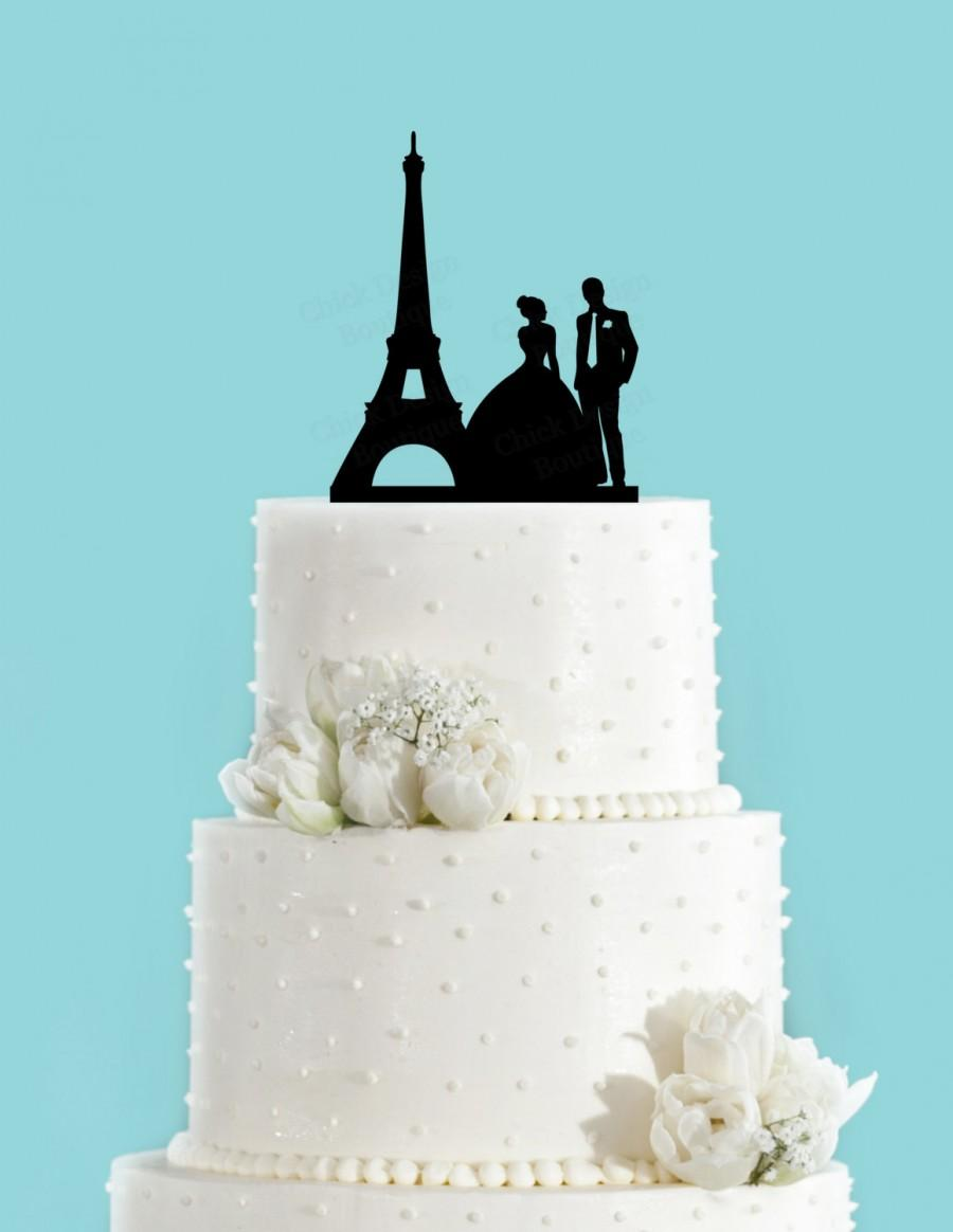Paris Couple Bride And Groom French Wedding Acrylic Cake Topper