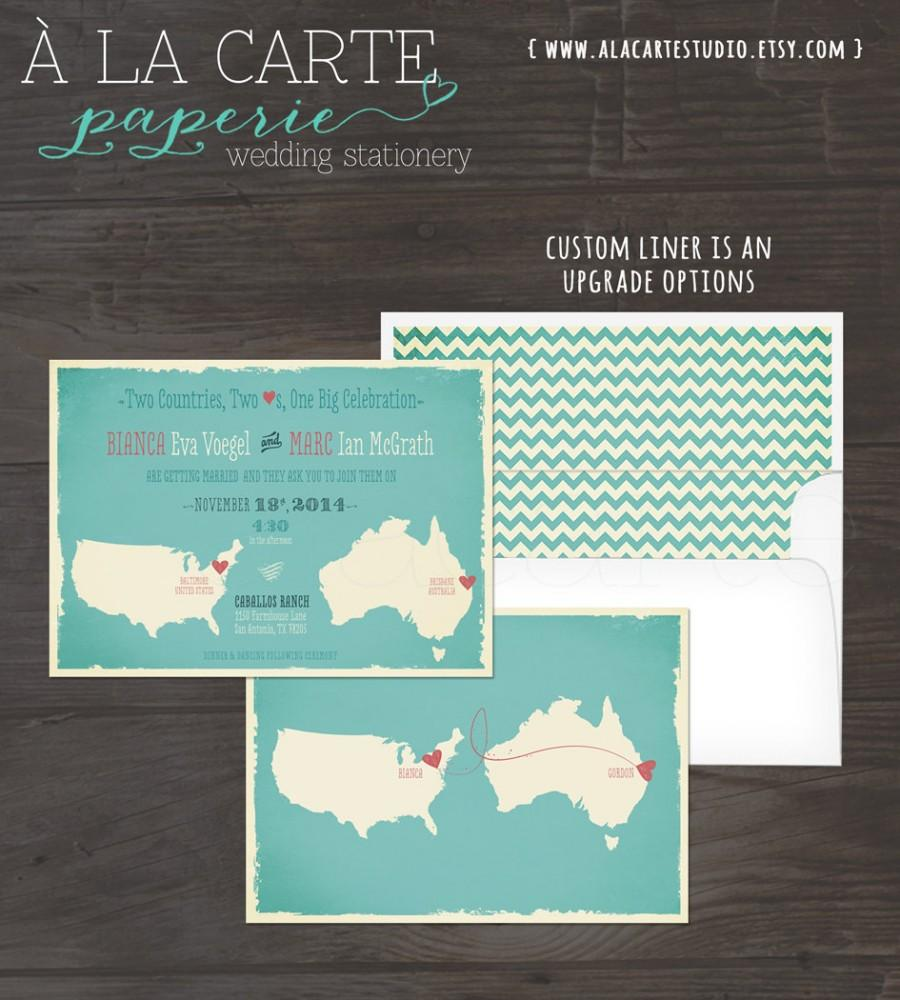 Map Style Wedding Invitation Australia USA Two Countries Two Hearts