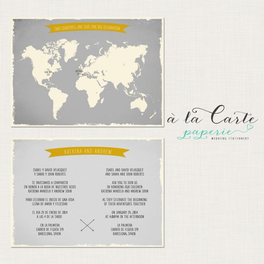 Hochzeit - Bilingual Invitation - Two Countries, One Love, One Big Celebration - Wedding Invitation in greys and Yellow tones