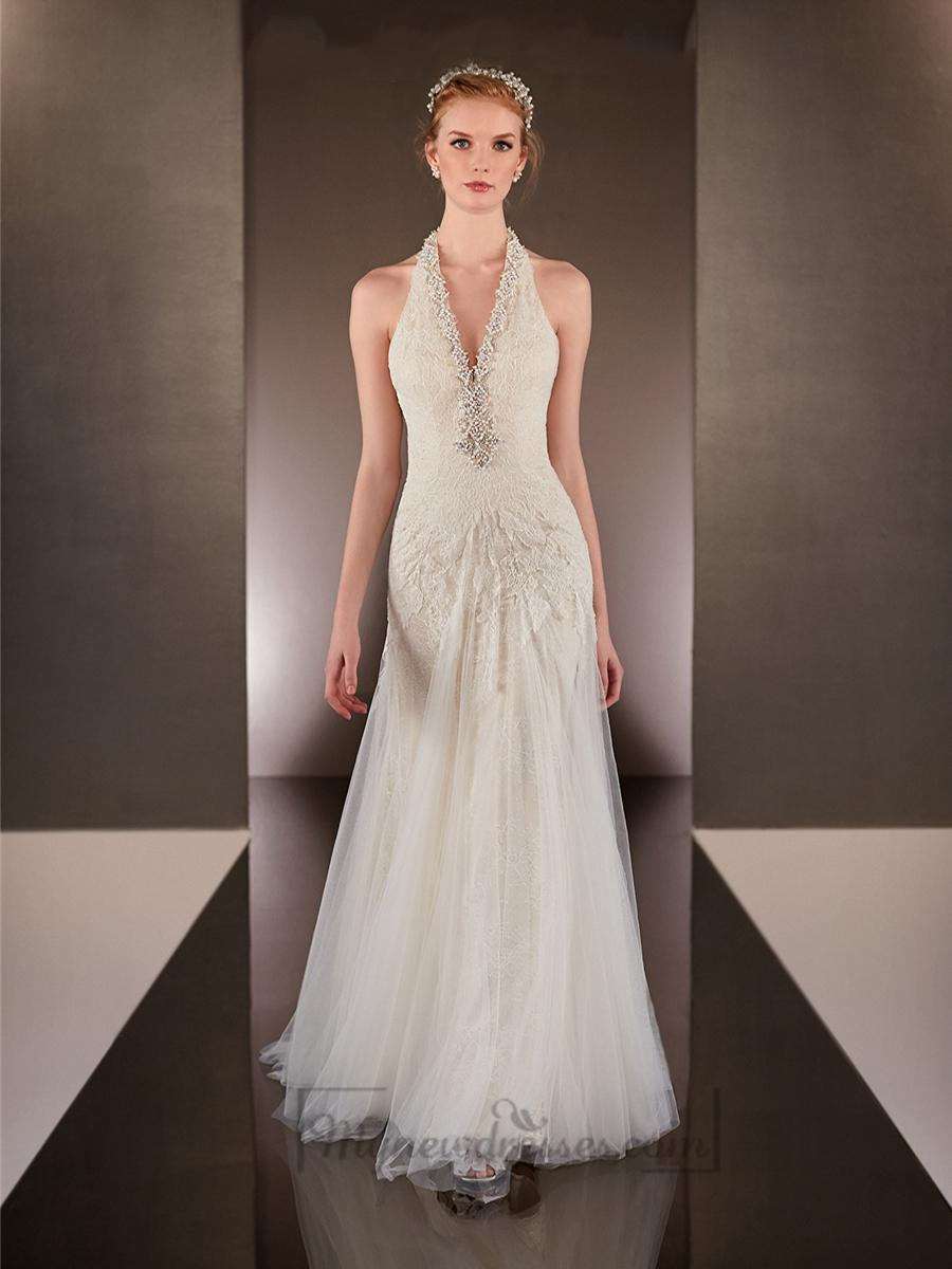 Mariage - Beaded Helter V-neck Sheath Wedding Dresses with Low Open Back