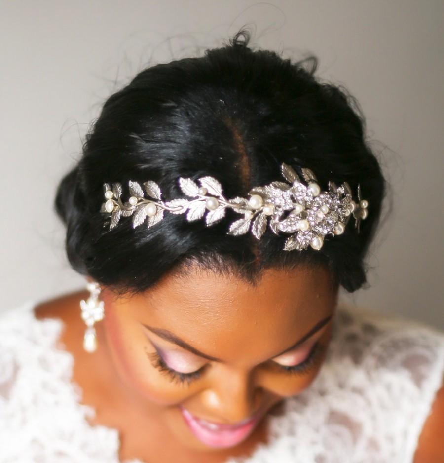 Wedding - Bridal headband, Rhinestone Wedding headpiece, Crystal Bridal tiara, wedding headband, wedding hair accessory, Leaf hair piece, Pearl accent