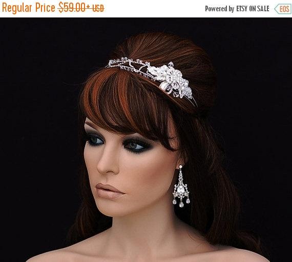 Wedding - SALE - Crystal Headband , Bridal Headband , Bridal Hair Accessory , Wedding Headband , Swarovski  Headpiece