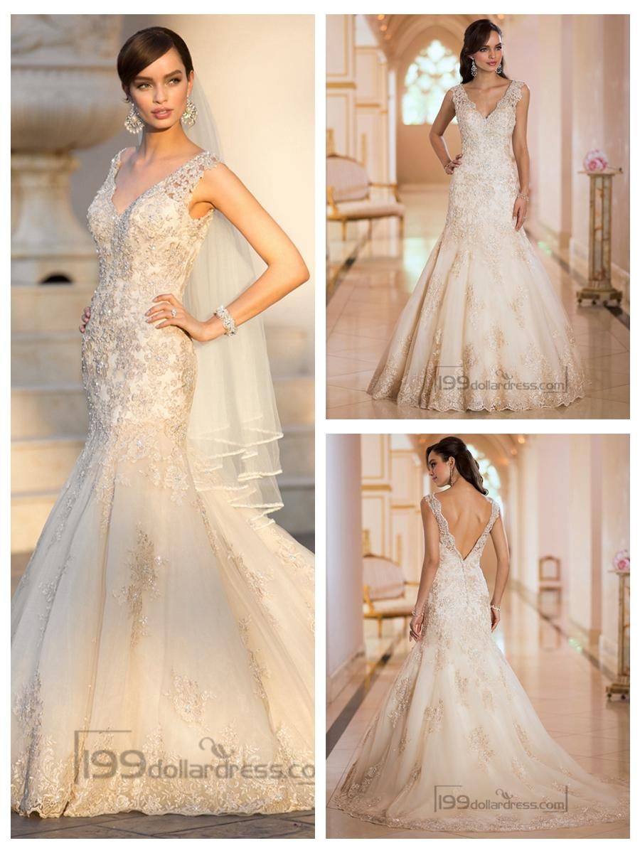 Свадьба - Elegant Straps Pluging V-neck Beaded Lace Wedding Dresses with Deep V-back