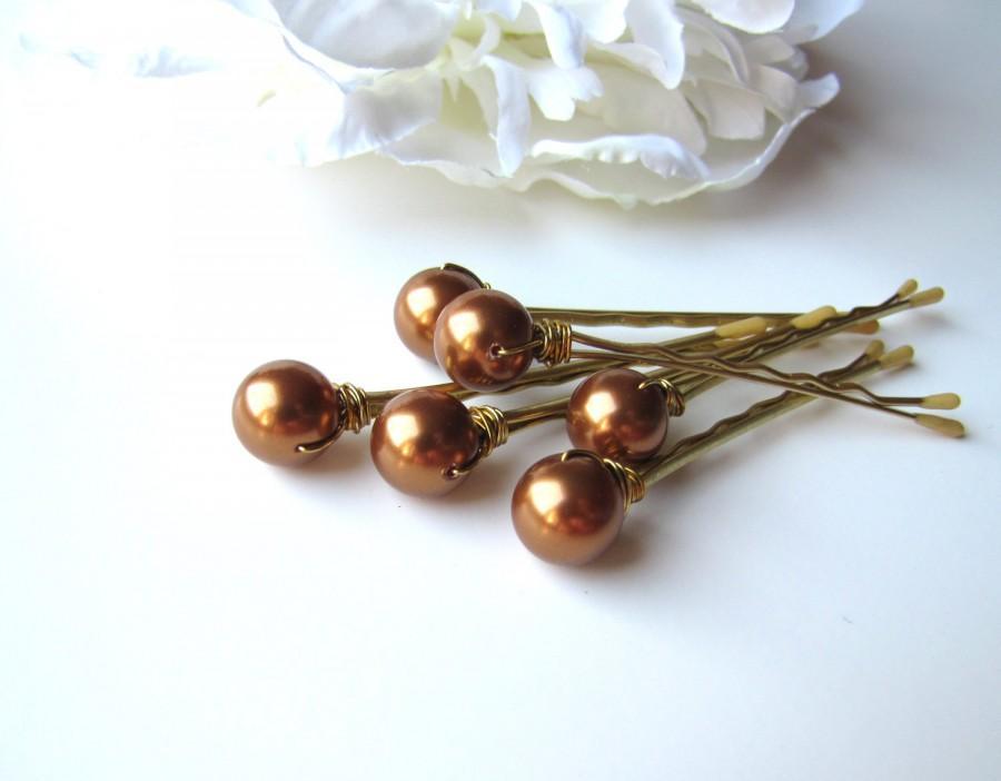 Hochzeit - Copper Hair Pin Pearls, 10mm Swarovski