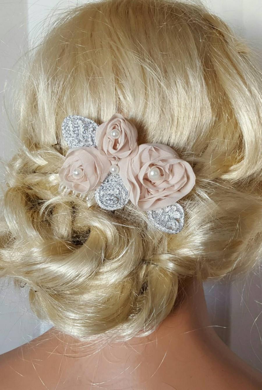Mariage - BLUSH Champagne Bridal Hair Comb, Chiffon Floral Hair Clip,Wedding Fascinator, Lace Pearl Hair Comb, Bridal Hair Clip,Bridal Comb,