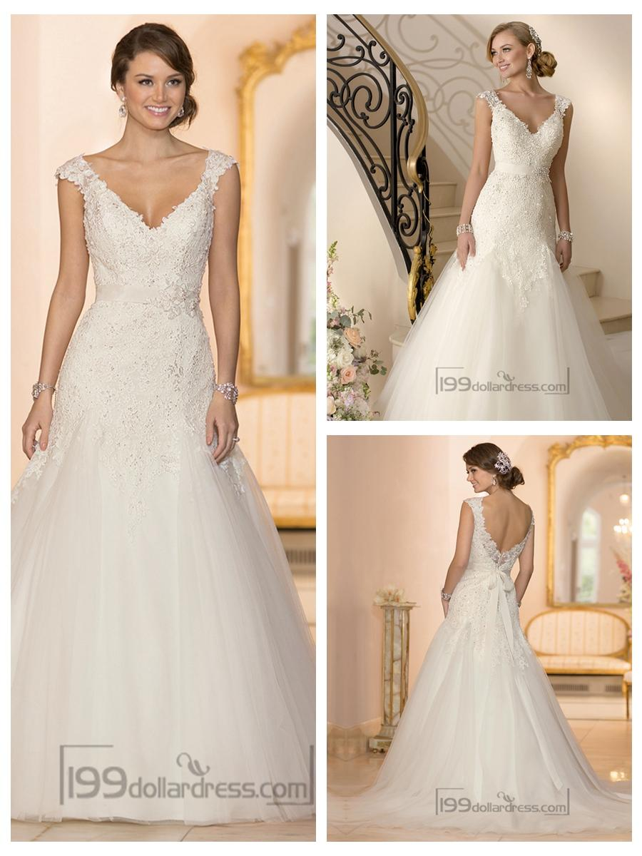 Cap Sleeves V-neck A-line Lace Beaded Deep V-back Wedding Dresses ...