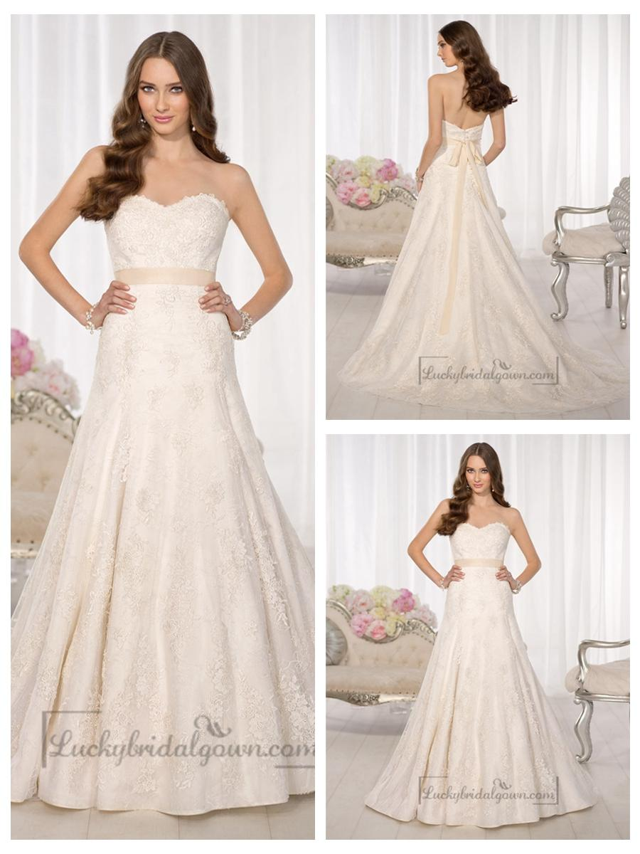 Strapless Sweetheart A Line Simple Lace Wedding Dresses 2445727