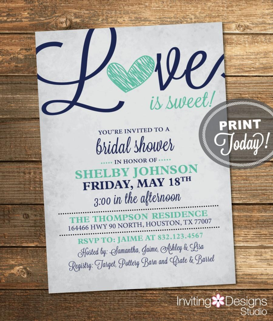 sample wedding invitation letter for uk visa%0A Bridal shower invitations love is sweet