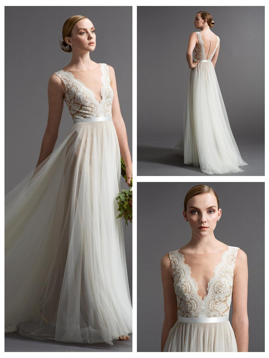 Hochzeit - Romantic A-line Wedding Dresses with Illusion Neckline and Plunging Back