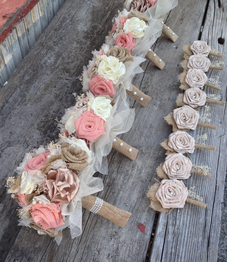 Wedding - Beautiful peach burlap and champagne silk wedding bouquets(listing is for one bridal bouquet)