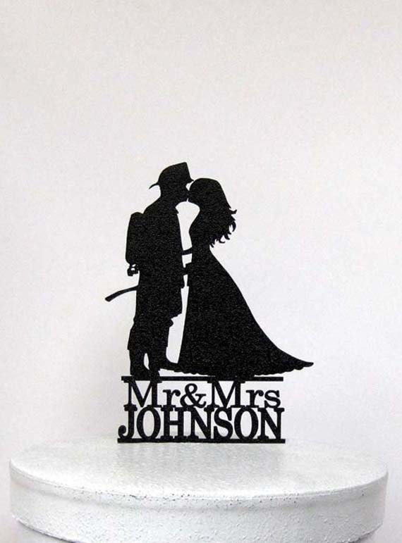 Wedding - Personalized Wedding Cake Topper - Fireman and Bride Silhouette 2 with Mr & Mrs name