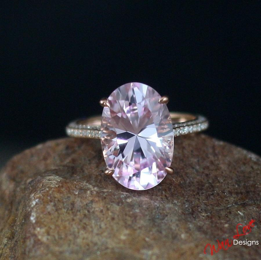 Custom Celebrity Light Pink Sapphire Engagement Ring Oval 4ct 10x8mm Diamond