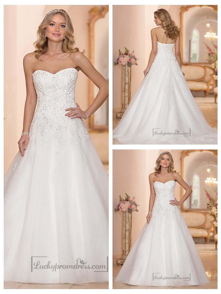 Strapless Sweetheart Embellished Lace Bodice A Line Wedding Dresses