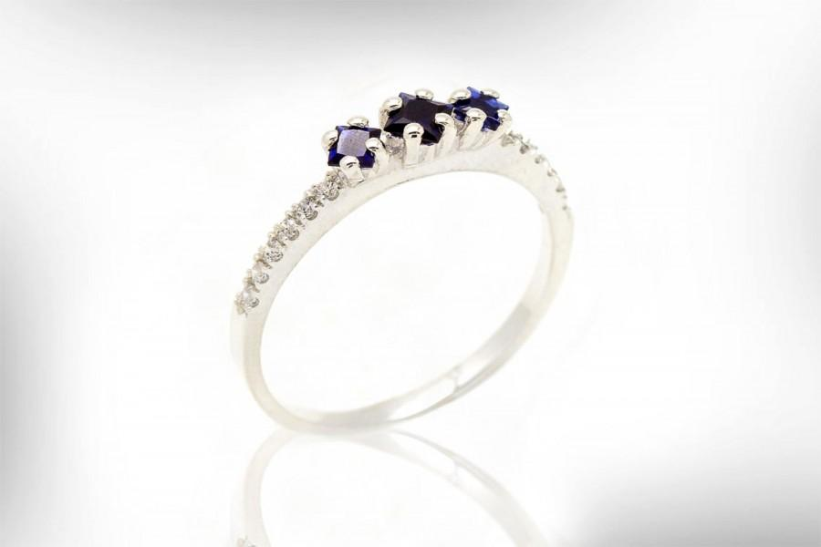 Свадьба - Engagement Ring, 14k/18k Gold Diamond Ring, Sapphire Engagement Ring, September Birthstone Ring,Nuritdesignjewelry
