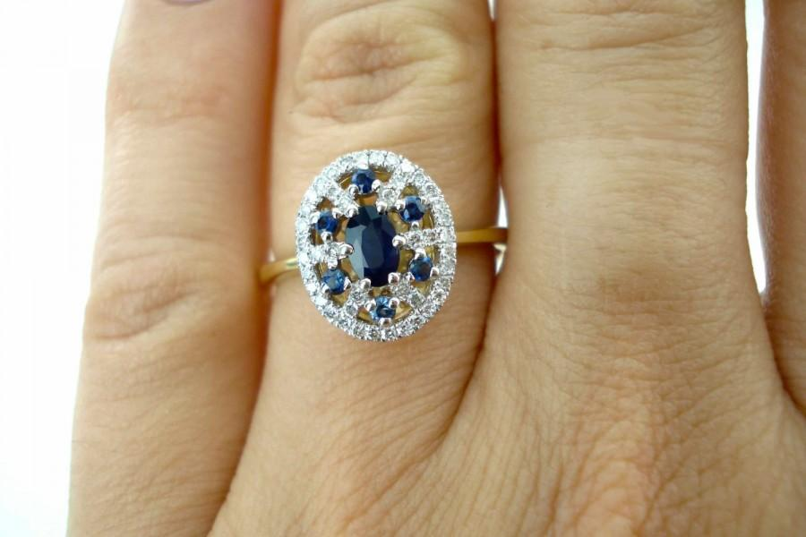 Свадьба - Engagement Ring, Diamond and Sapphire Ring, Sapphire Engagement Ring, Diamond Wedding Ring, Fast Free Shipping